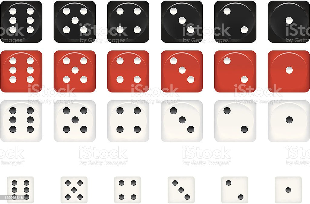 Dice in different variations of size and color vector art illustration