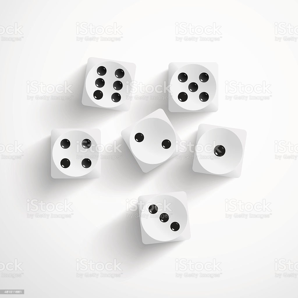 Dice on white background vector art illustration