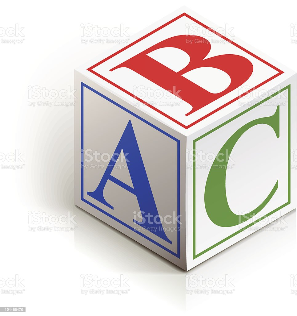 A dice with the letters a, b and c in different colors royalty-free stock vector art