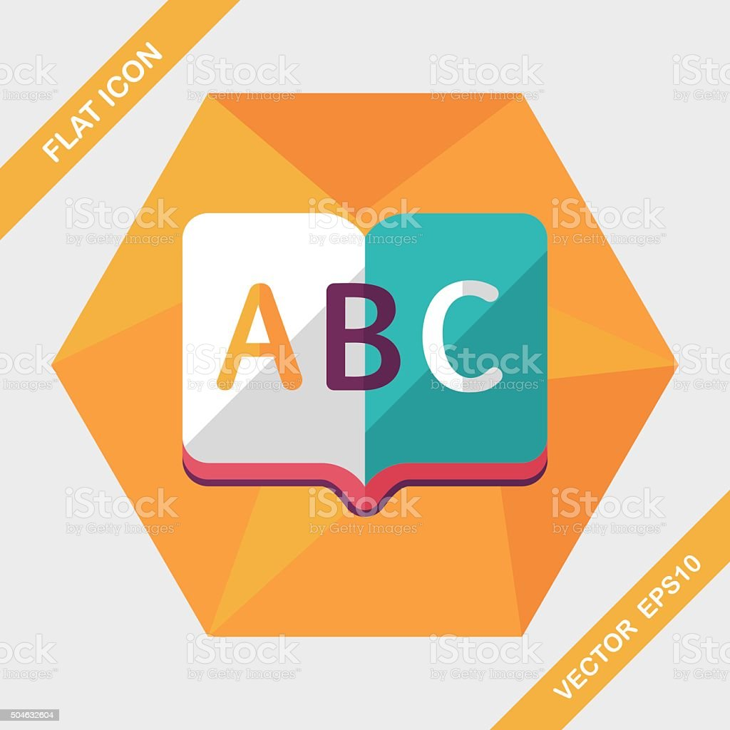 Dictionary book flat icon with long shadow,eps10 vector art illustration