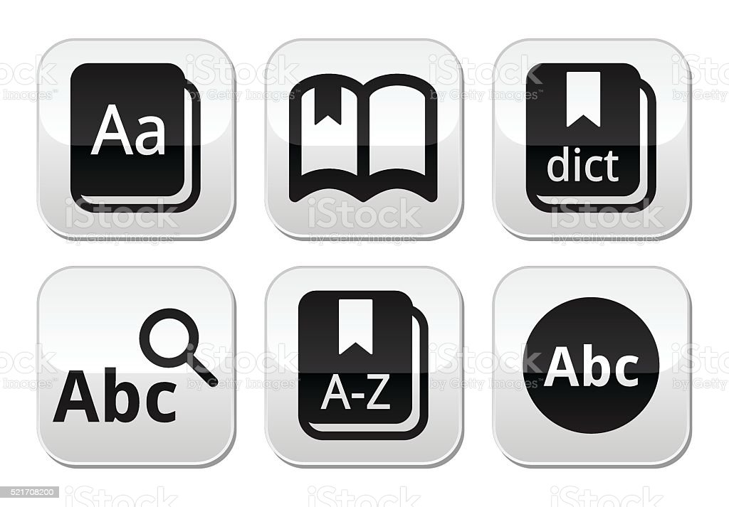 Dictionary book vector buttons set vector art illustration