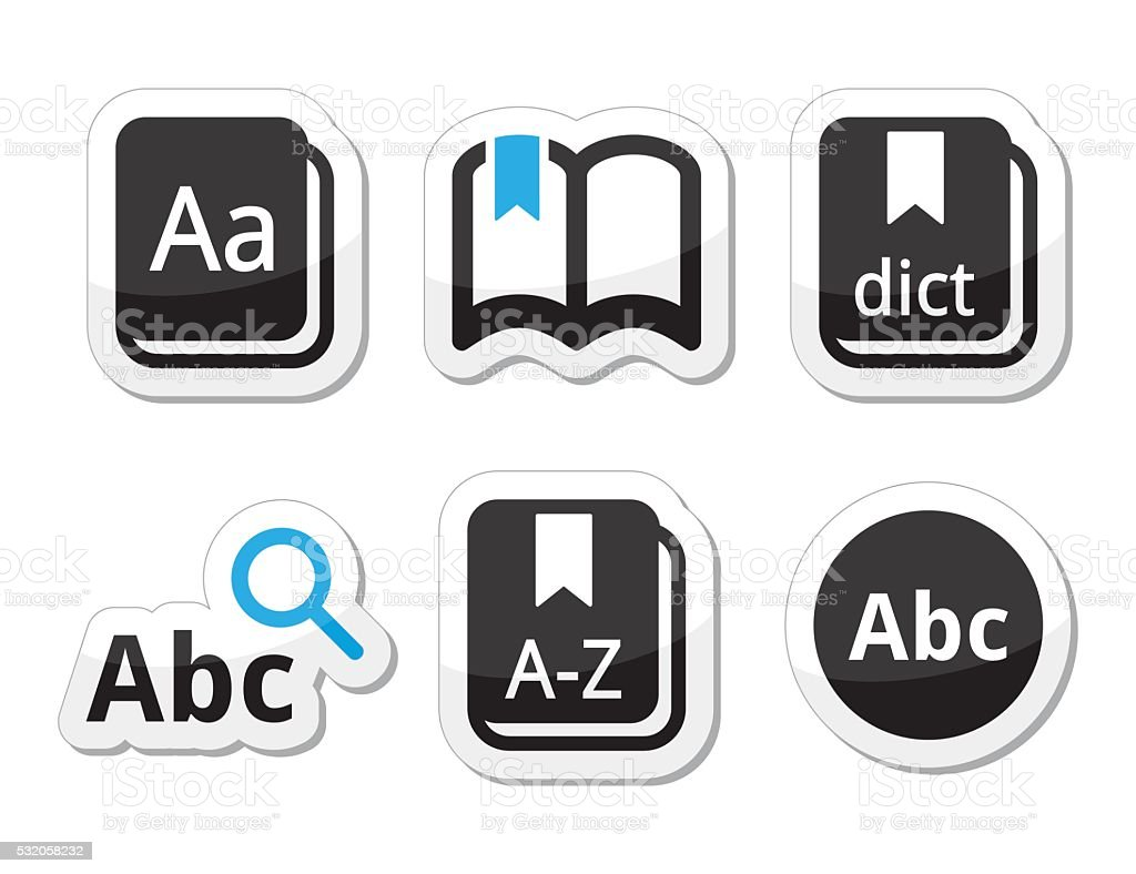 Dictionary book vector icons set vector art illustration