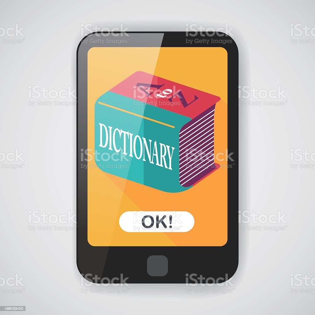 Dictionary flat icon with long shadow,eps10 vector art illustration