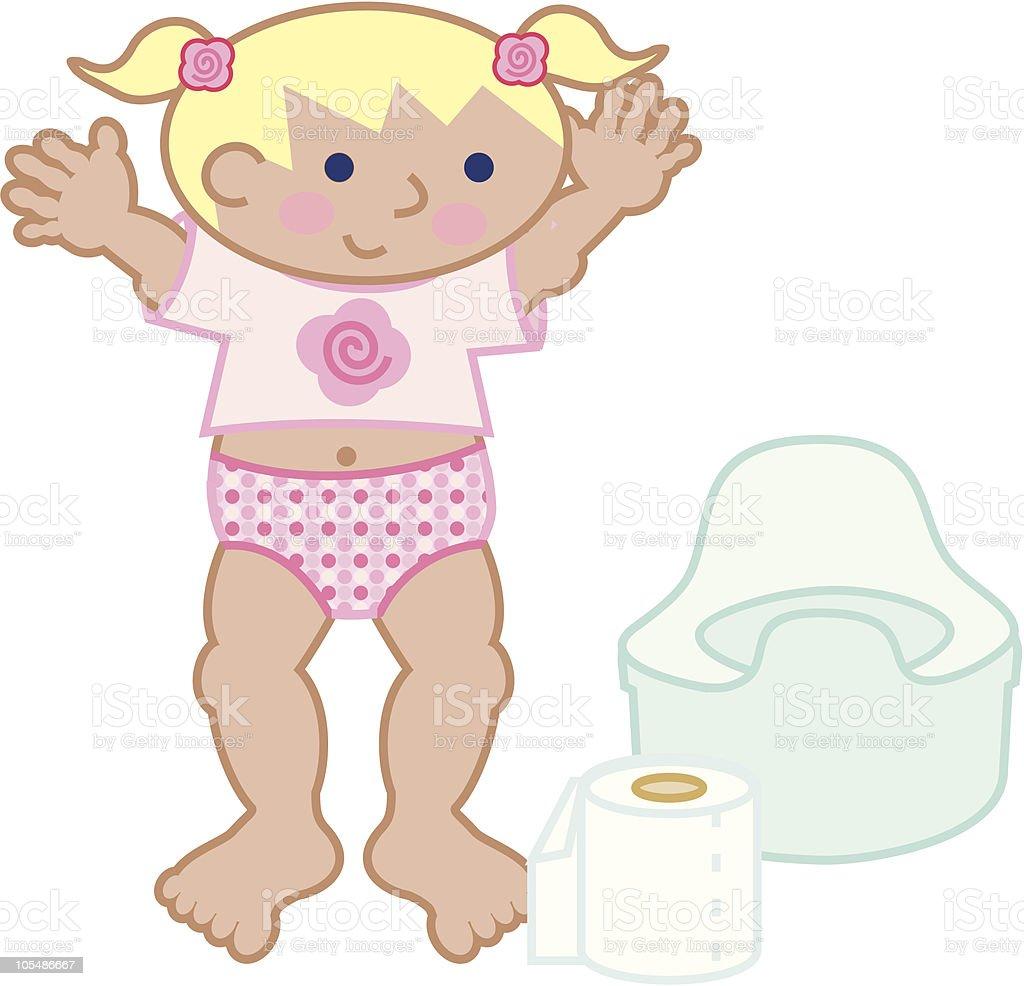 I did it! - potty training a girl vector art illustration