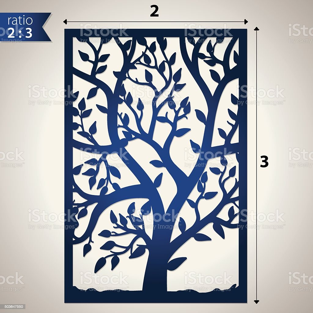 Die cut panel with cutout tree vector art illustration