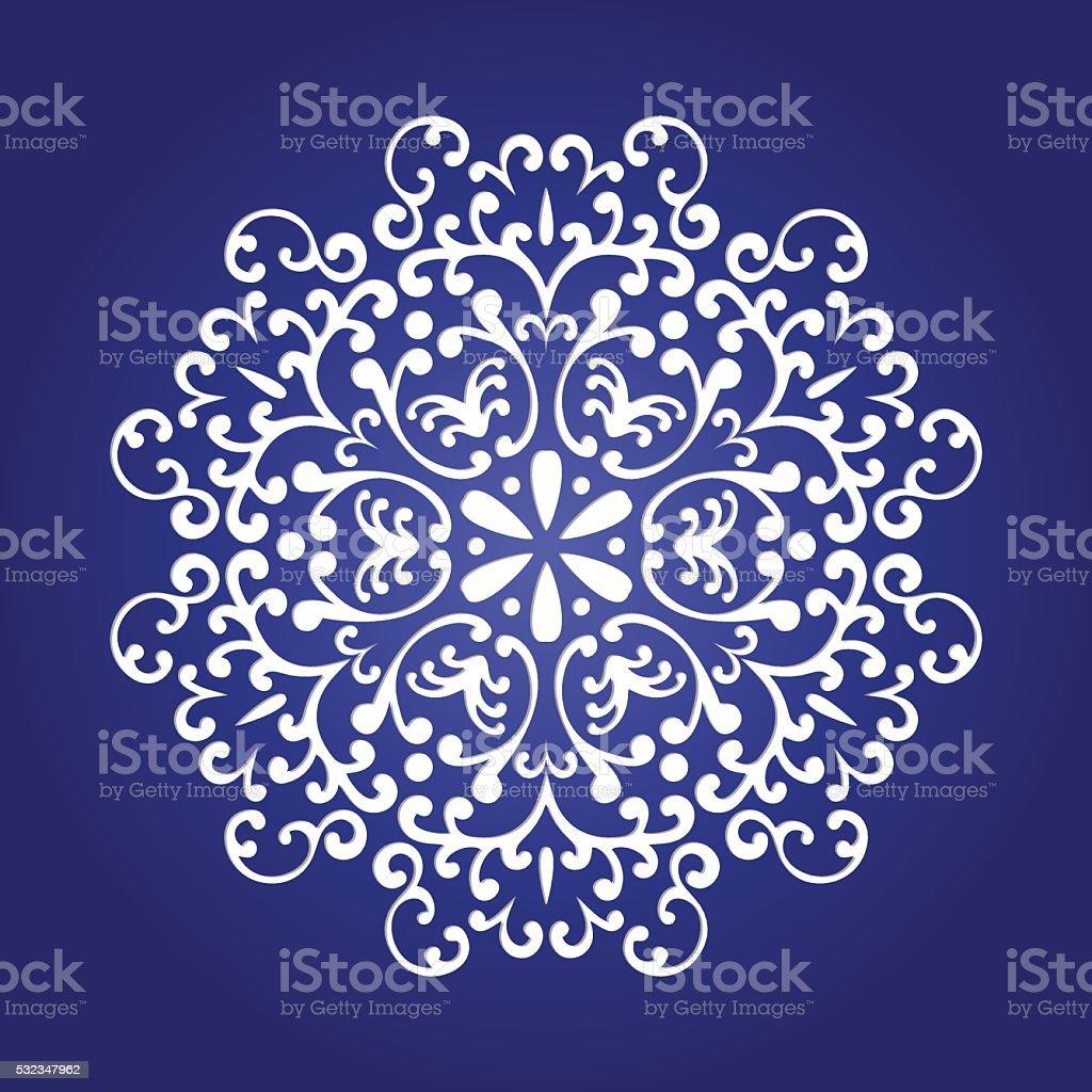 Die cut paper card with cutout mandala ornament vector art illustration