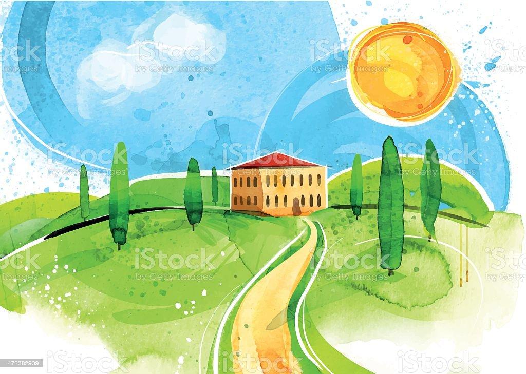 Die Toskana vector art illustration