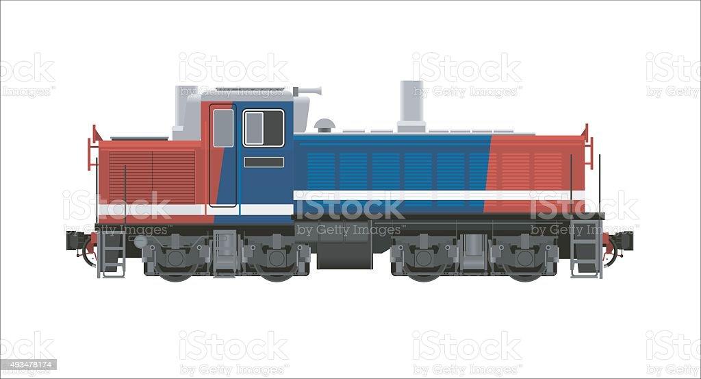 diesel hydraulic shunter locomotive vector art illustration
