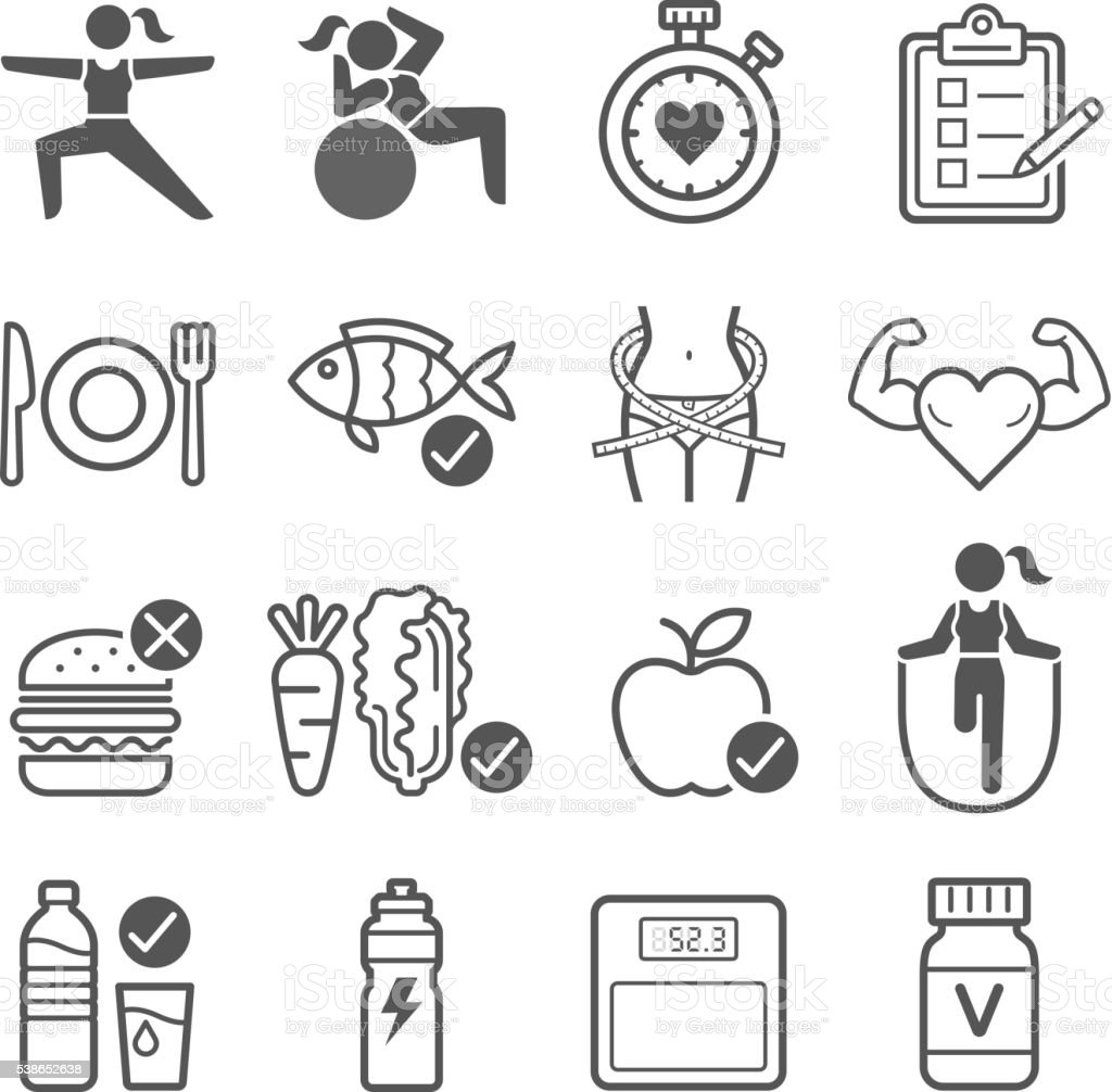 Diet and exercise icons. vector art illustration