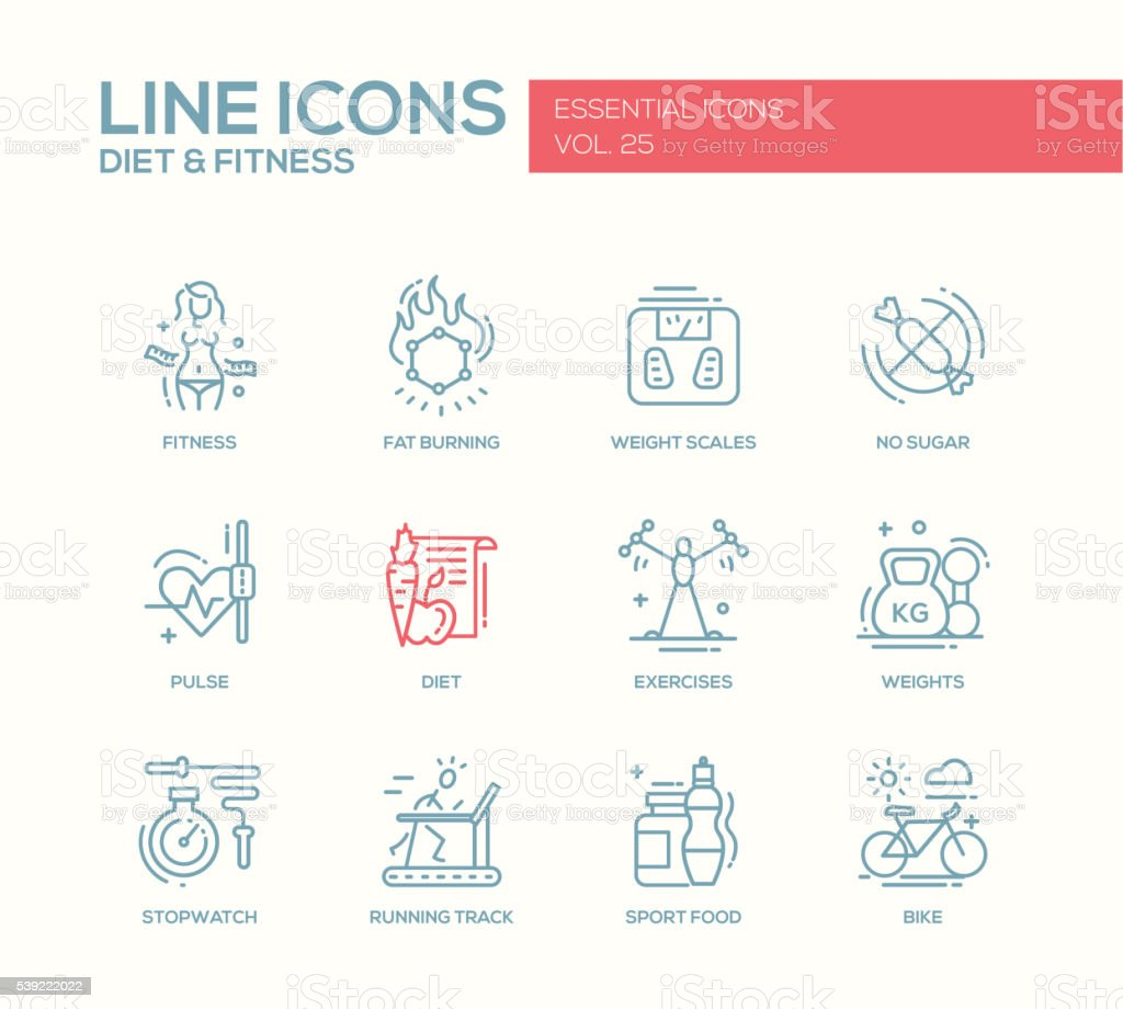 Diet and fitness - line design icons set vector art illustration