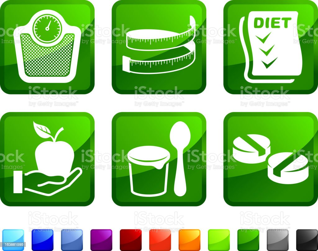 Diet and Healthy Food royalty free vector icon set stickers royalty-free stock vector art