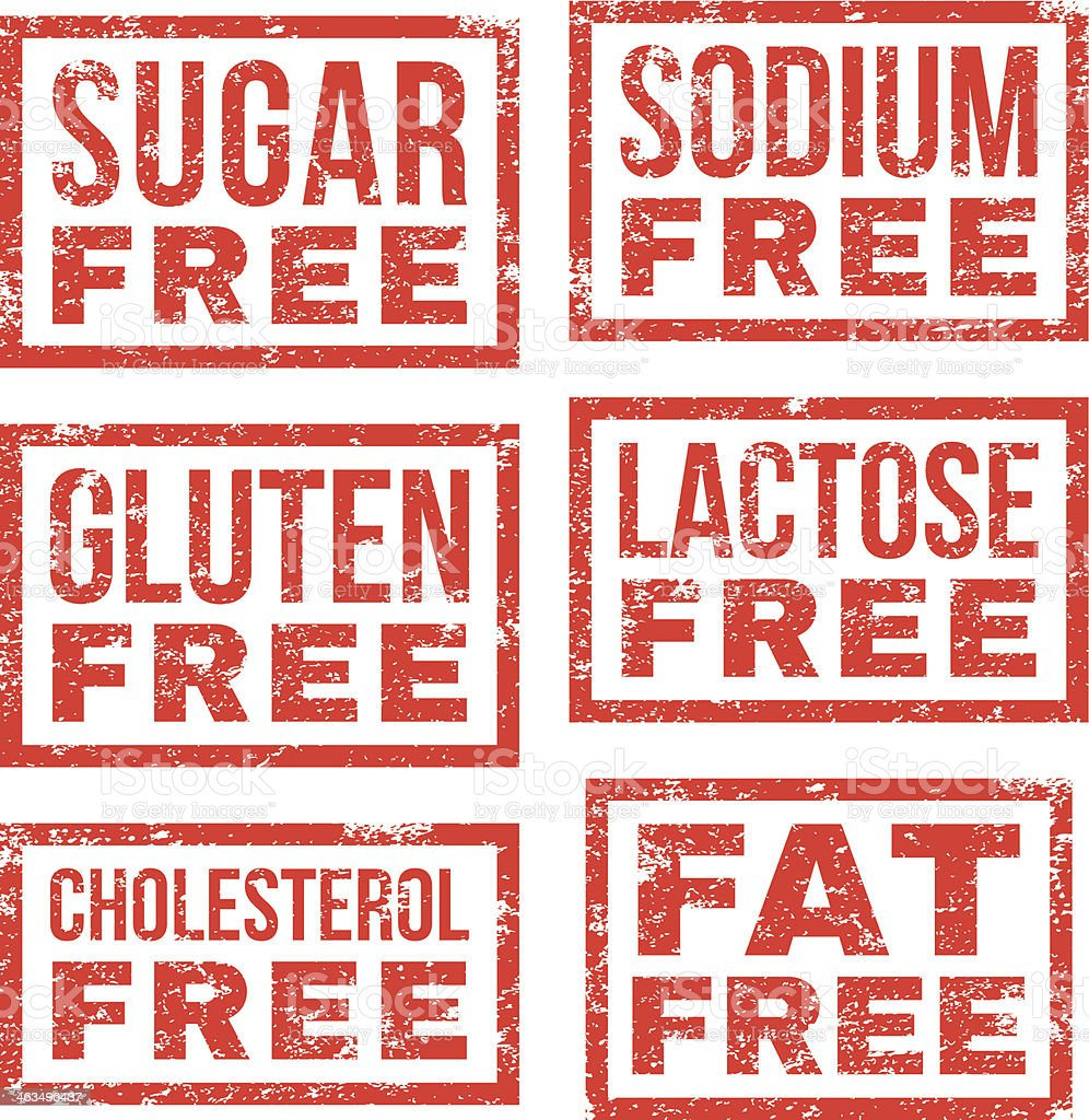 Diet and nutritions - rubber stamps vector art illustration