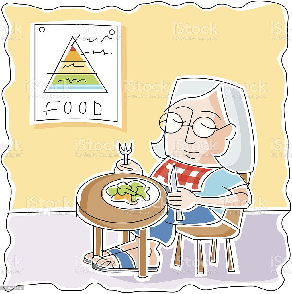 Diet and the food pyramid vector art illustration