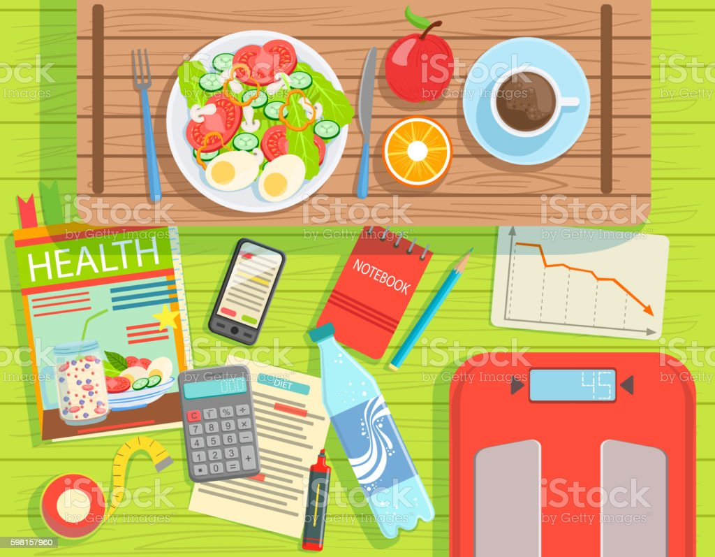 Diet And Weight Loss Elements Set View From Above vector art illustration