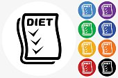 Diet Checklist Icon on Flat Color Circle Buttons