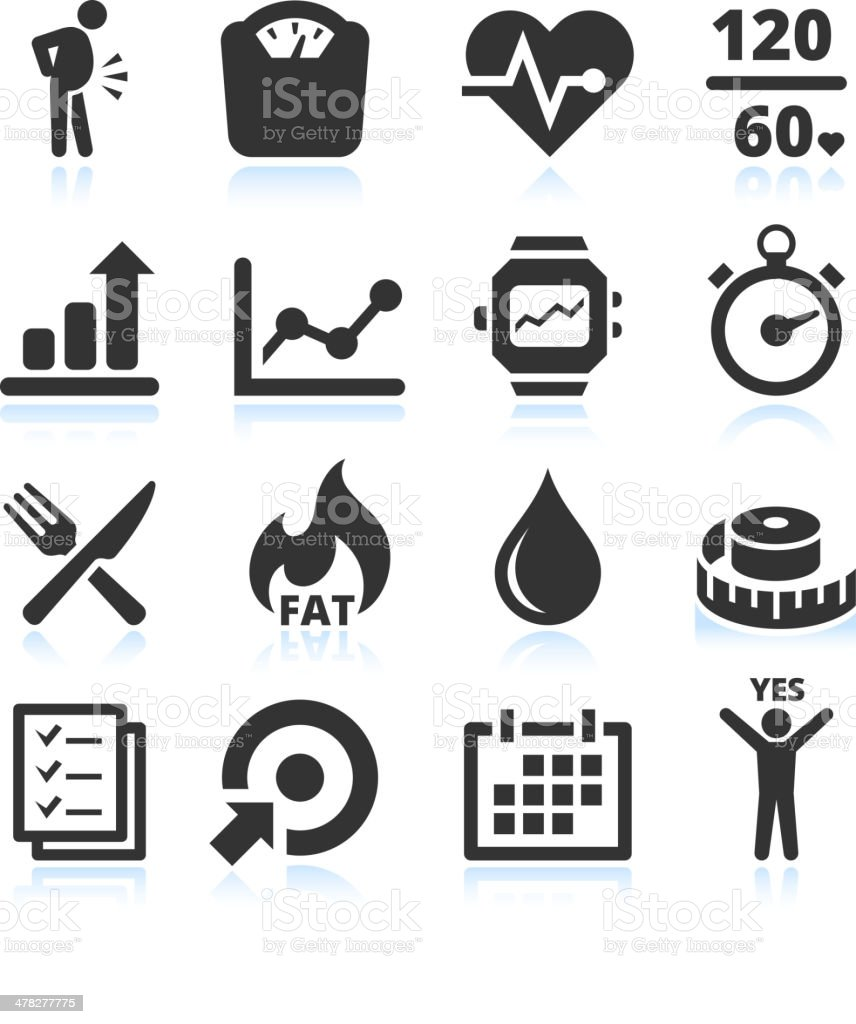 Diet exercise and healthy Lifestyle black & white vector icon set vector art illustration