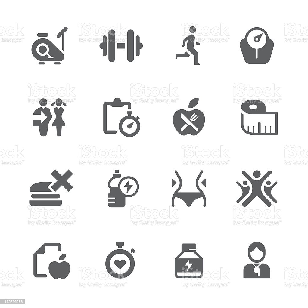 diet, health and exercise icons   prime series vector art illustration