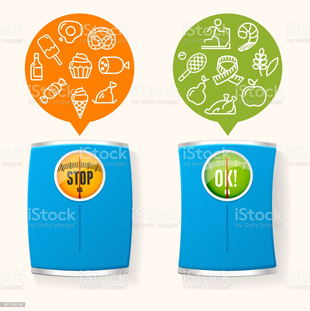 Diet Healthy Food Before and After Concept. Vector vector art illustration