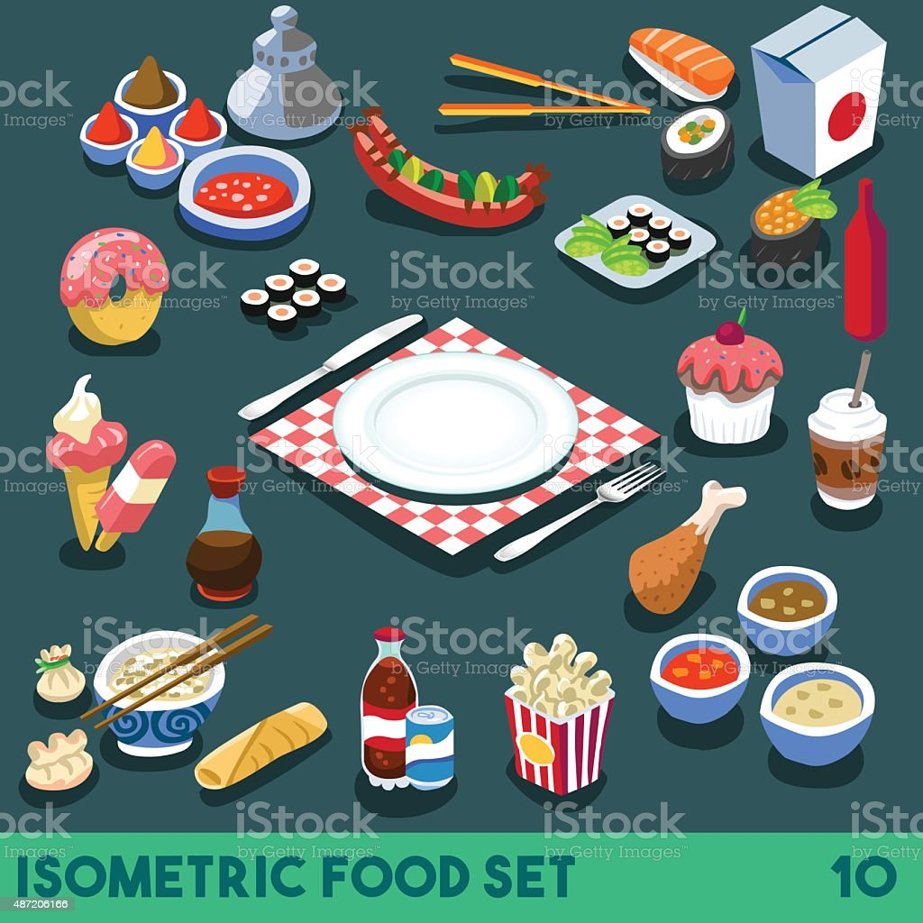 Diet Set 10 Food Isometric vector art illustration