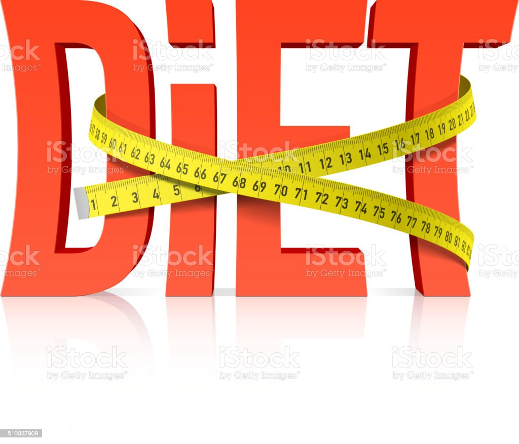 Diet with measuring tape concept vector art illustration