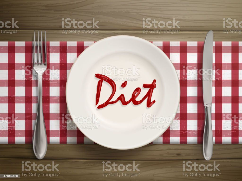 diet word written by ketchup on a plate vector art illustration