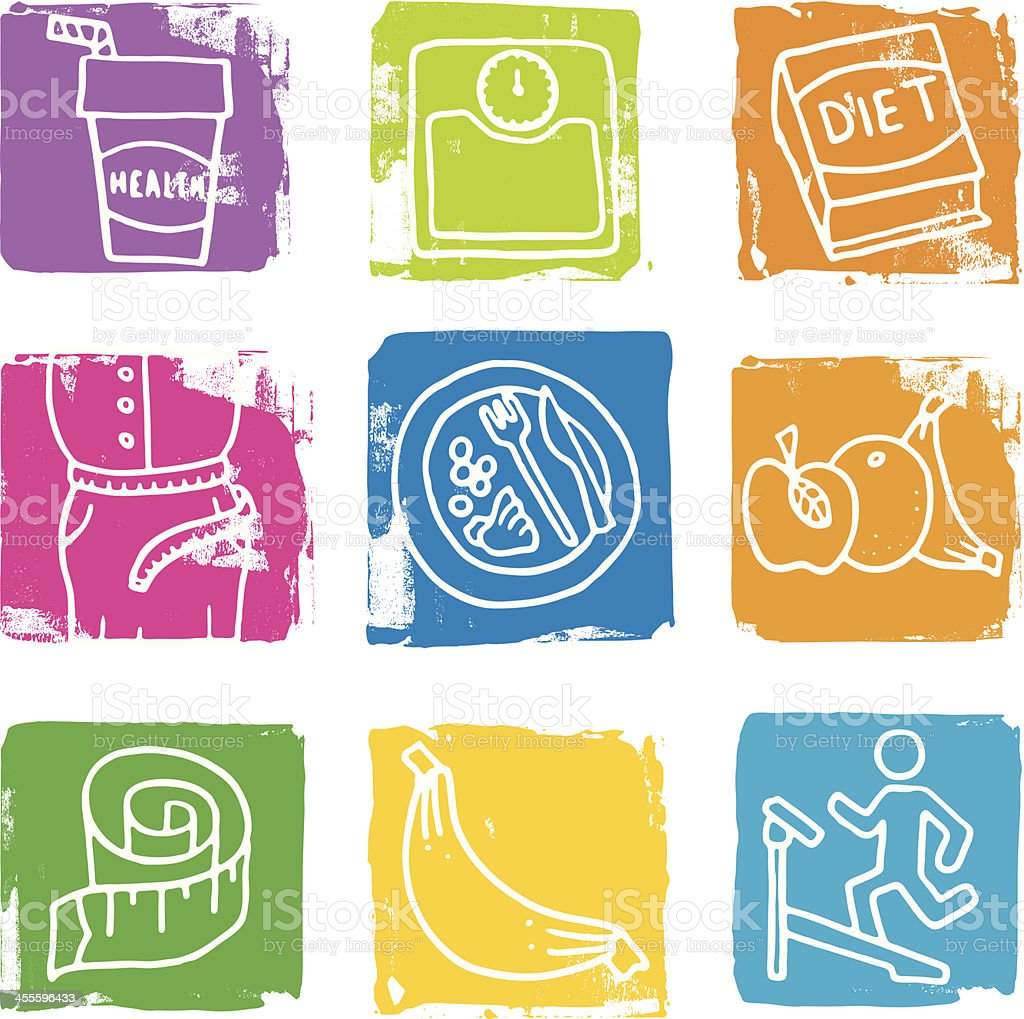 Dieting grunge block icon set royalty-free stock vector art