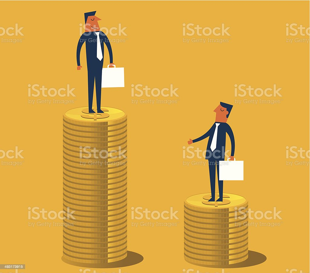 Difference in salary vector art illustration