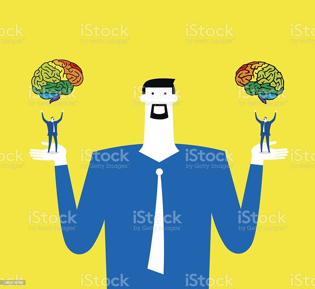 Differences about right and left brains vector art illustration
