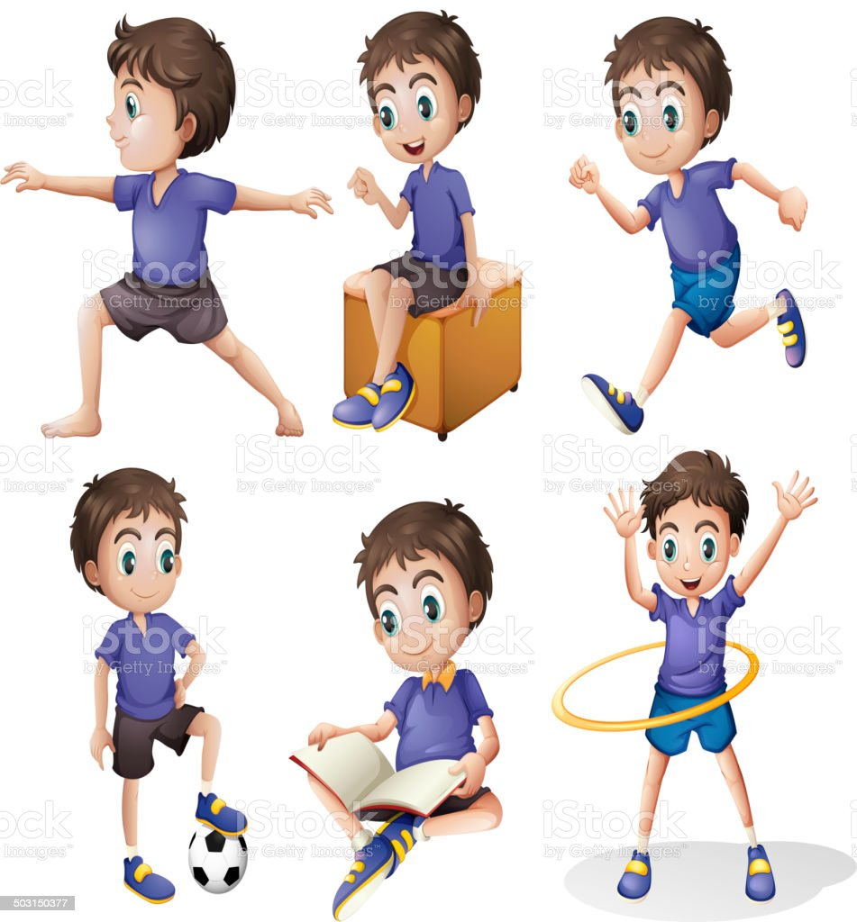 Different activities of a young boy royalty-free stock vector art