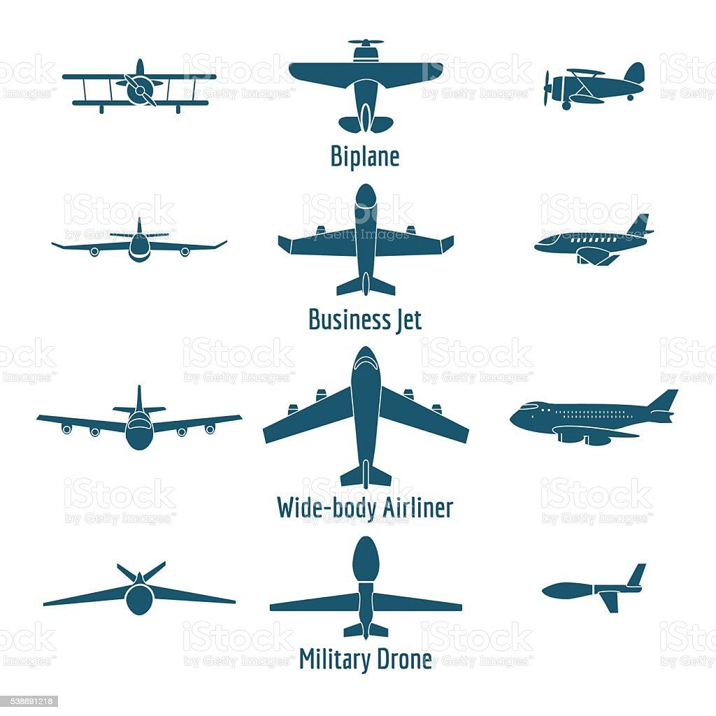 Different airplanes types vector art illustration