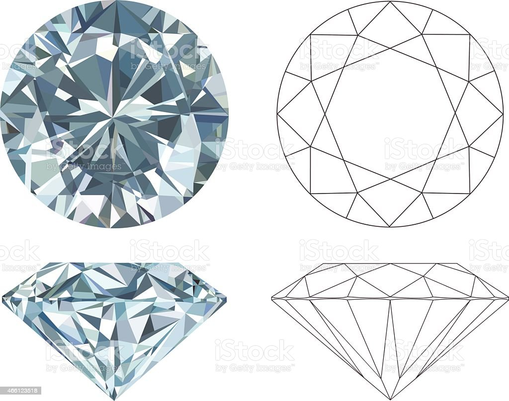 Different angles of a diamond in color and black and white vector art illustration