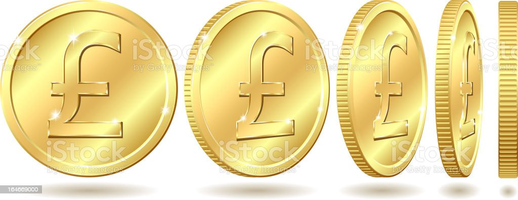 Different angles of a golden coin with pound symbol vector art illustration
