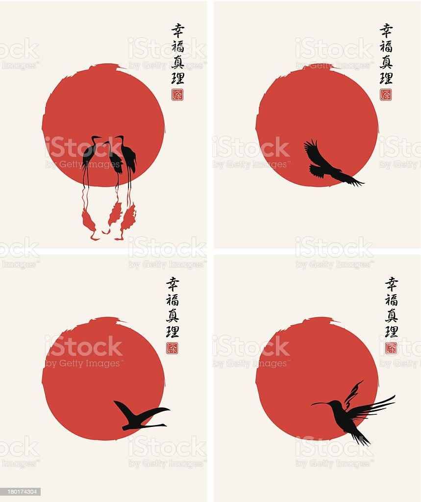different birds vector art illustration