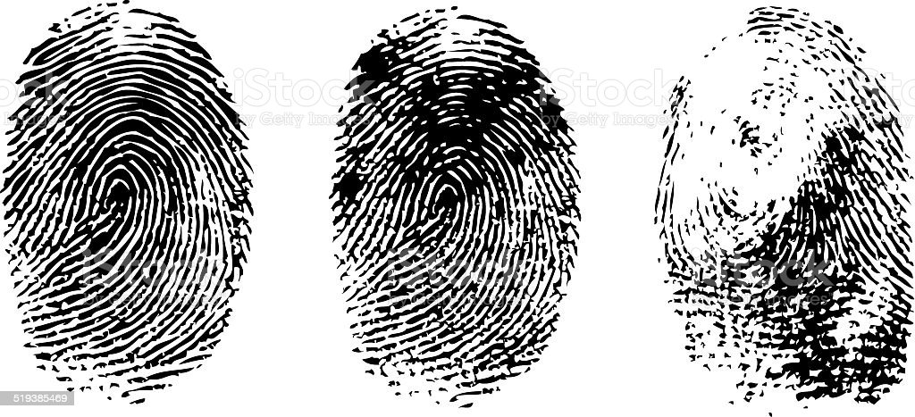 different black fingerprints, vector vector art illustration