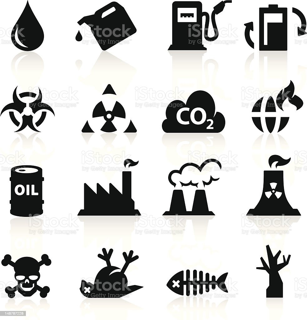 Different black-and-white pollution icons vector art illustration