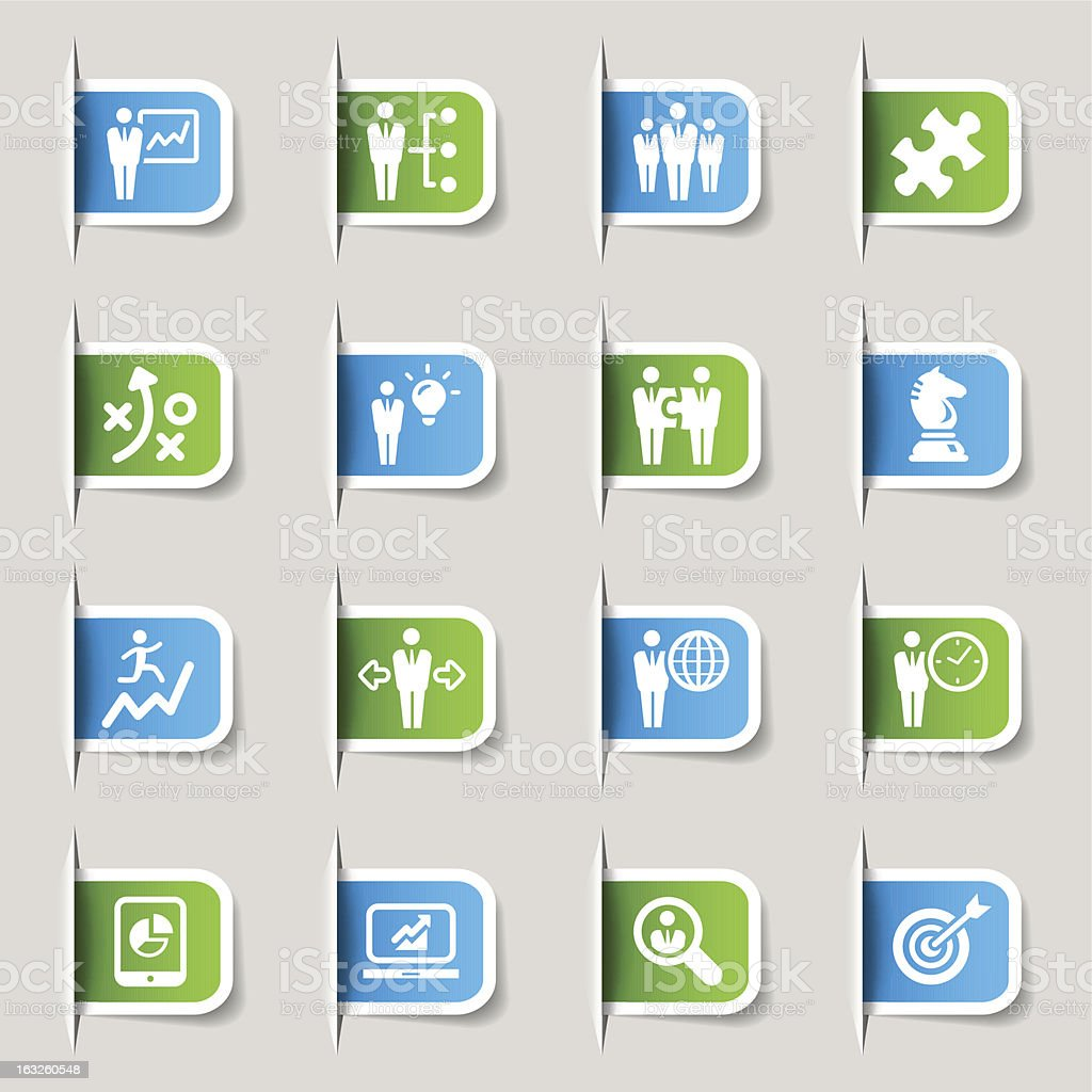Different blue and green business icons royalty-free stock vector art
