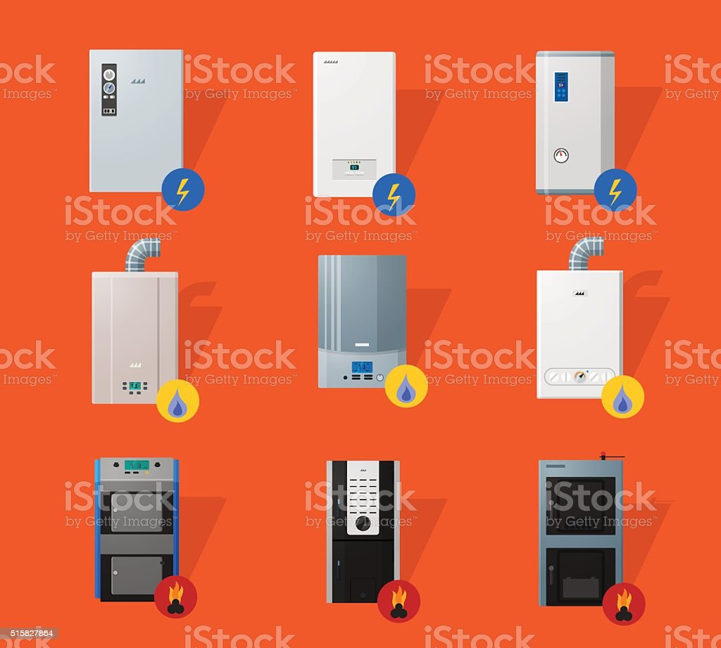 Different boilers flat icons vector art illustration