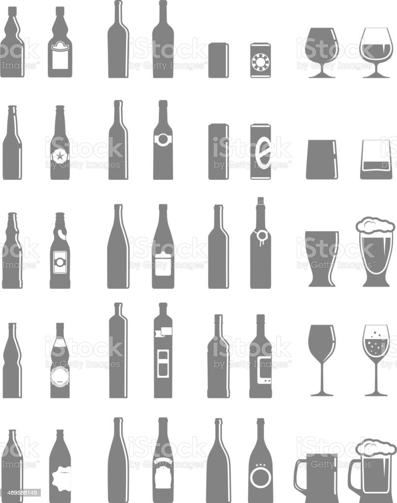 Different bottles and glasses set isolated on white vector art illustration