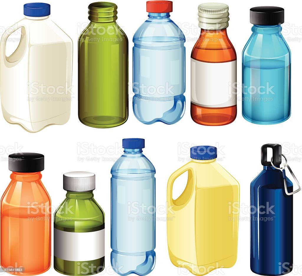 Different bottles vector art illustration
