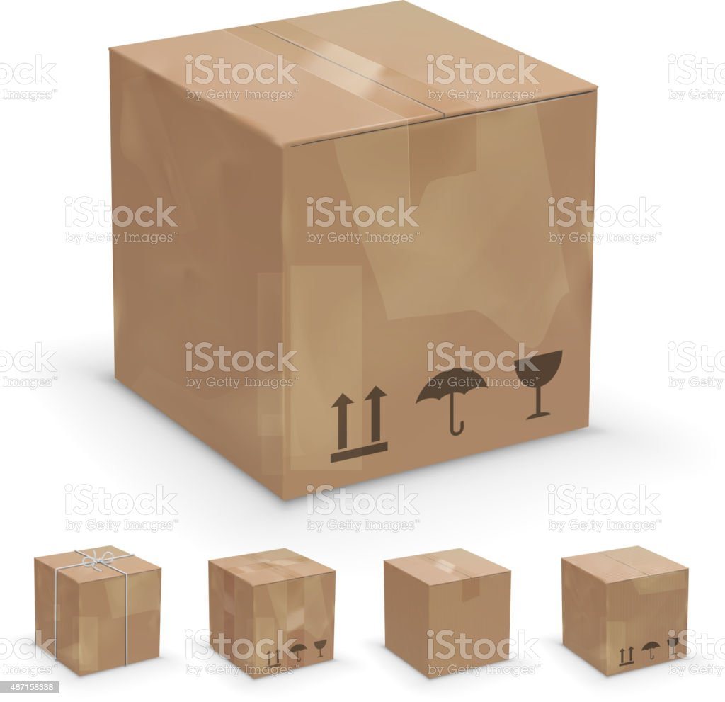 different boxes vector art illustration