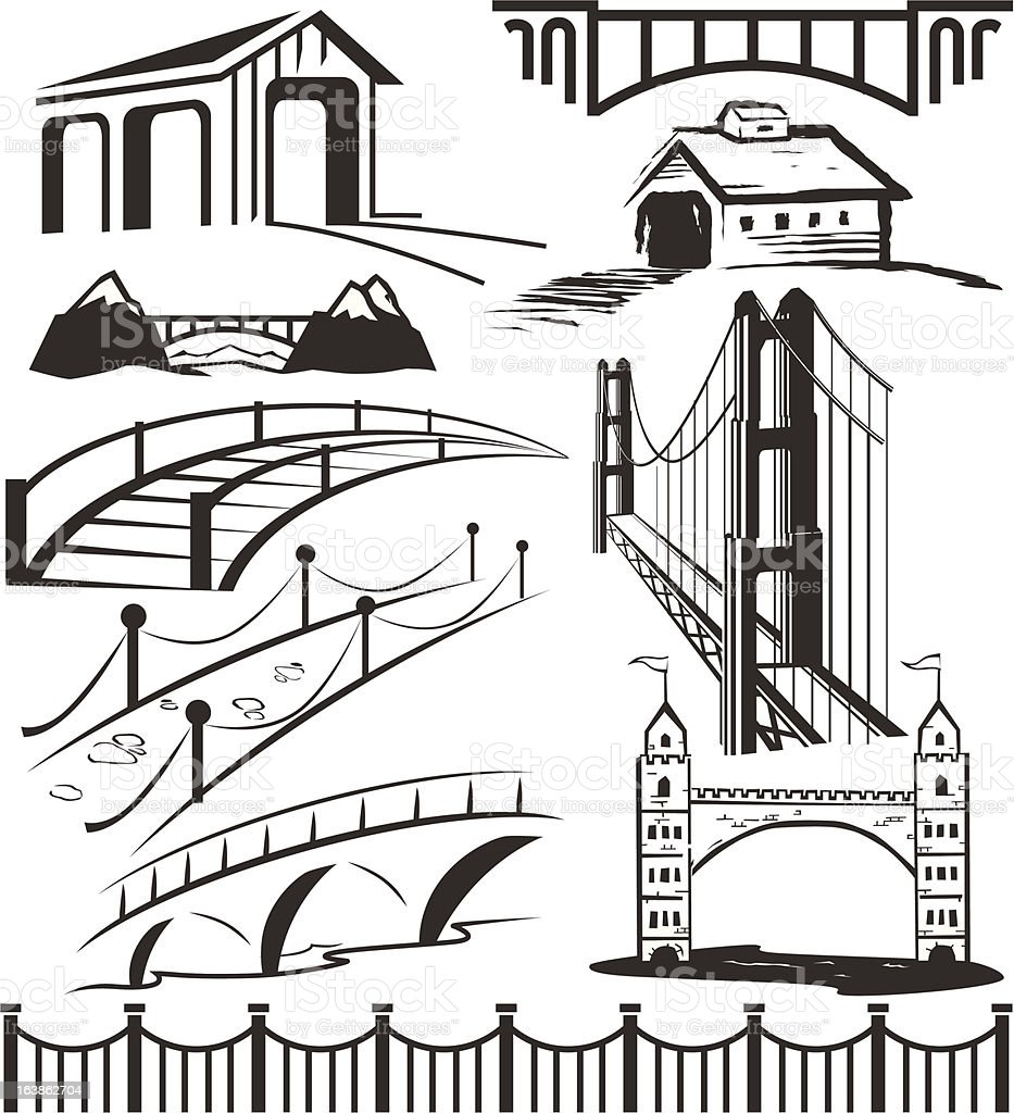 Different bridge clip art in black and white vector art illustration