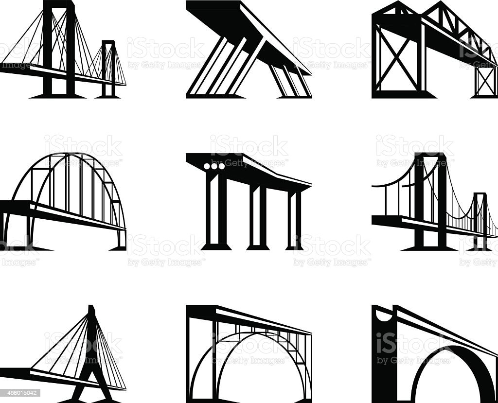 Different bridges in perspective vector art illustration