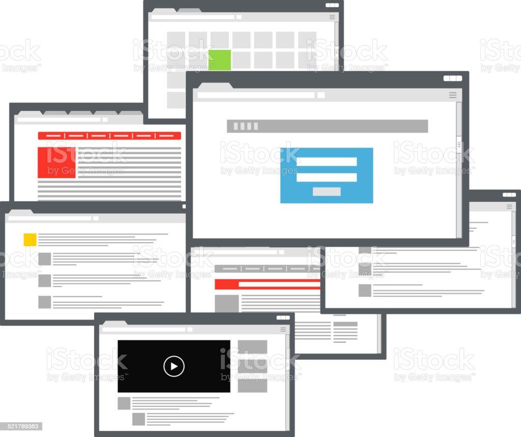 Different browser windows vector art illustration