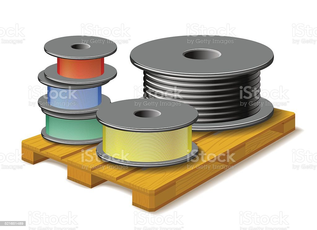 Different cables are on wooden pallet. vector art illustration