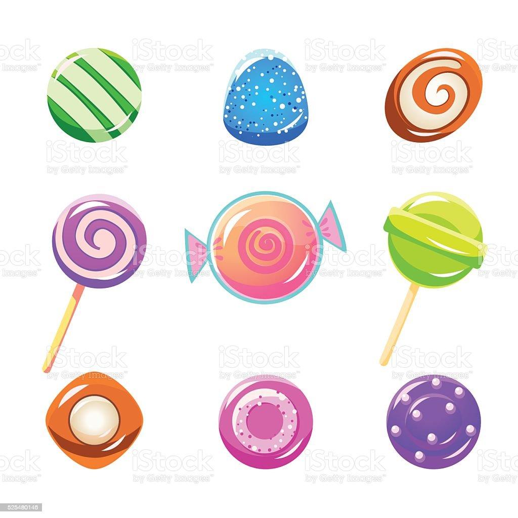 Different Candy Set vector art illustration