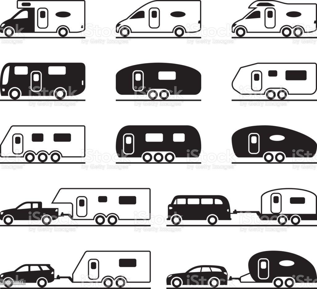 Different caravans and campers vector art illustration