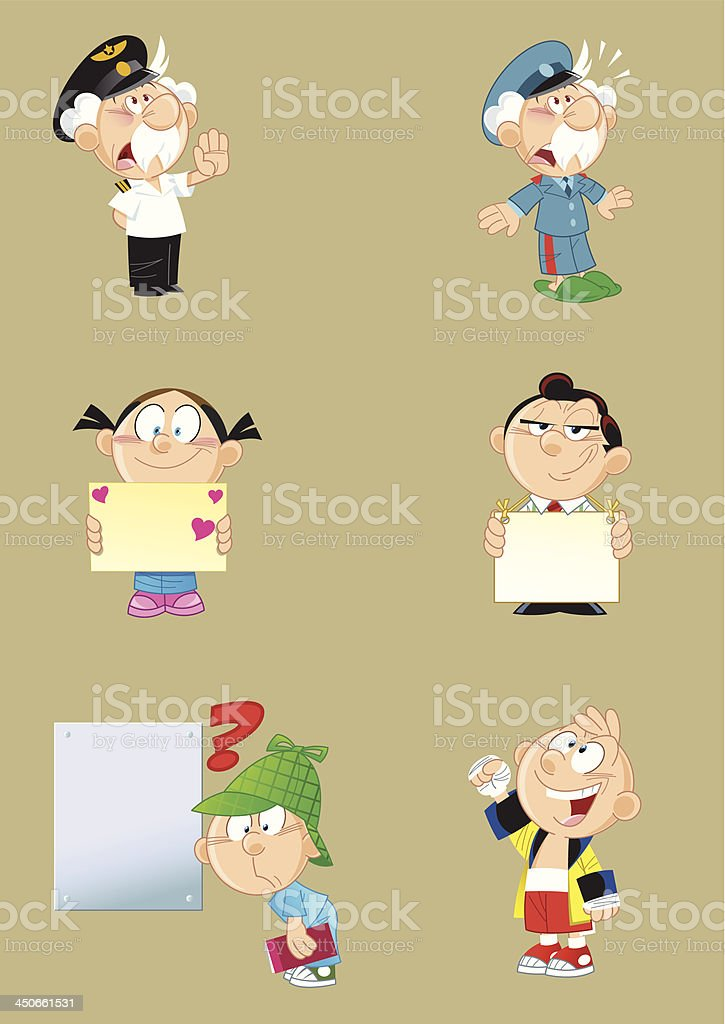 different characters vector art illustration