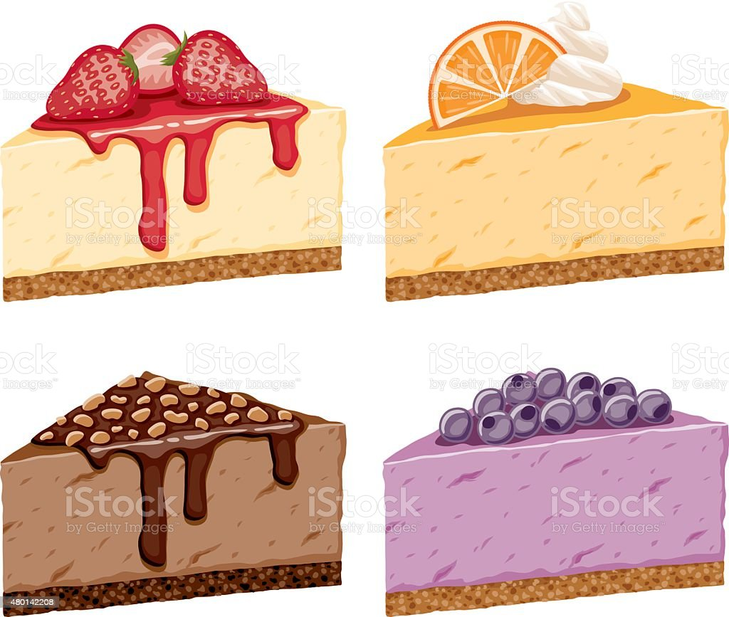 Different Cheesecake Flavor Icon Set vector art illustration