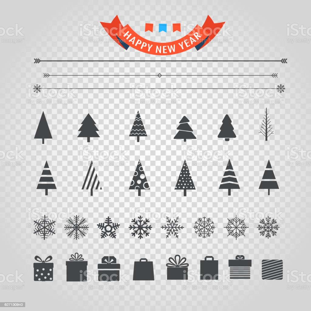 Different christmas silhouettes vector set isolated on transparent vector art illustration