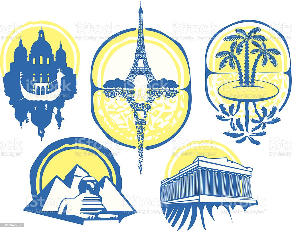 different cities royalty-free stock vector art